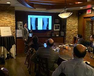 Dr. Ronak Patel hosts a cartilage case discussion dinner for sports                             medicine specialists in the region.